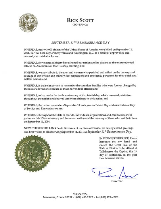 Gov. Scott 9-11 proclamation