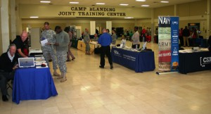 Various companies such as G4S Security (left) and agencies like Florida Highway Patrol talked with potential employees.