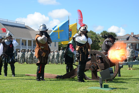Re-enactors from Florida Living History fire a replica cannon during the 449th First Muster ceremony at the St. Francis Barracks, St. Augustine, Fla., Sept. 12, 2014. Photo by Staff Sgt. Jeremy Brownfield