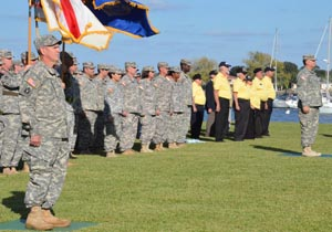 A Vietnam veterans platoon joins a formation of Florida National Guard Soldiers and Airmen during the Vietnam War commemoration at the historic St. Francis Barracks in downtown St. Augustine, Nov. 7, 2014. Twenty-eight Vietnam veterans were honored for their military service during the ceremony commemorating the 50th anniversary of the Vietnam War. Photo by Master Sgt. Thomas Kielbasa