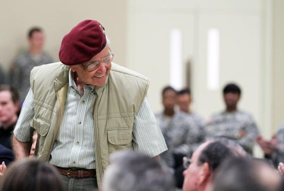 "Rupert Metzrogh, a German POW held at Camp Blanding Joint Training Center towards the end of World War II attended the 75th anniversary ceremony on Jan. 10, 2015, to pay homage to what he calls his ""alma mater."" Photo by Sgt. Lindsey Morgan."
