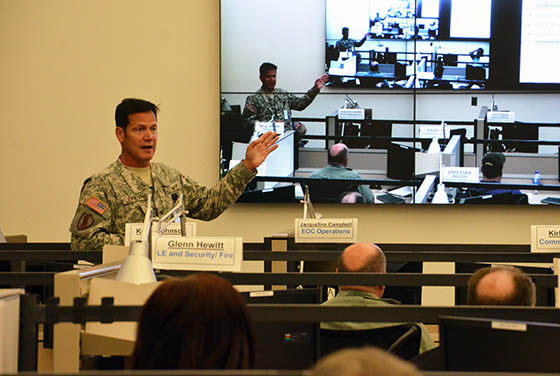 Col. Eric Lefevre discussing the principles of the Army Installation Emergency Operations Center (EOC) course at the 211th Regional Training Institute (RTI) with participants on May 18, 2015, at Camp Blanding Joint Training Center, Fla. Photo by Master Sgt. Thomas Kielbasa